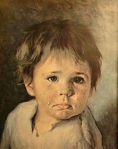 Maleri av gråtende barn.