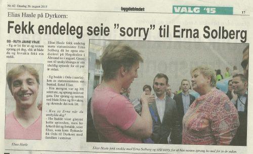 Faksimile av Bygdebladet: Elias Hasle fekk snakke med Erna Solberg og seie sorry for at han nesten sprang ho ned for to år sidan.