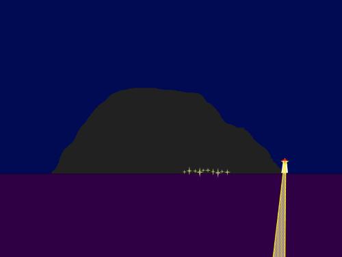 Tegning av øy med fyrtårn. Små lys langs vannkanten.